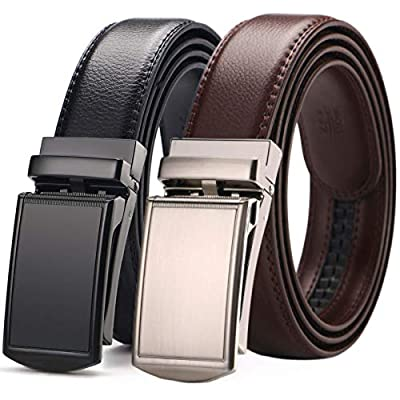 [2 Pack] Men's Belt,West Leathers Slide Ratchet Belt for Men with Genuine Leather Perfect Fit Waist Size up to 44 inches (A-2)