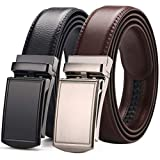 [2 Pack] Men's Belt,West Leathers Slide Ratchet Belt for Men with Genuine Leather Perfect Fit Waist Size up to 44 inches (A-3)