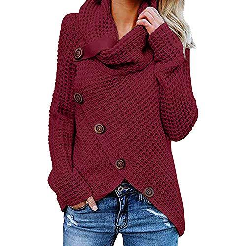 Jerseys De Punto para Mujer Cuello de Tortuga Manga Larga Suelto Prendas de Punto Suéter Irregular Jerséis Collar de la Pila Tops Cálido Otoño Invierno riou (z-Wine Red, L)