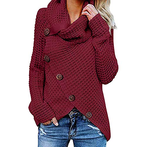 Jerseys De Punto para Mujer Cuello de Tortuga Manga Larga Suelto Prendas de Punto Suéter Irregular Jerséis Collar de la Pila Tops Cálido Otoño Invierno riou (z-Wine Red, S)