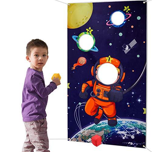 HOWAF Weltraum Sonnensystem Wurfspiele Set für Kinder, Astronaut Hängend Werfen Spiel mit 3 Sitzsäcken für Draußen Drinnen Erwachsene Kinder Party Spiele Aktivitäten Zubehör Dekoration