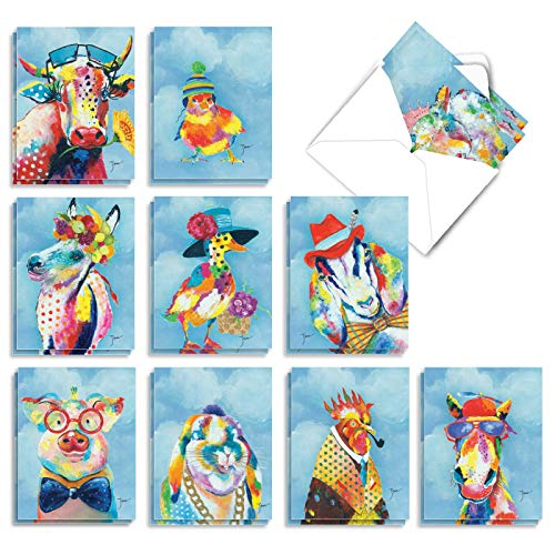 Funny Farm - 20 Artistic All Occasion Cards with Envelope (4 x 5.12 Inch) � Assorted Animals Appreciation Greeting Card - All-Occasion Printed Stationery Cards (2 Each, 10 Designs) AM6563OCB-B2x10