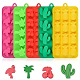 Candy Molds Silicone Chocolate Molds - Silicone Molds Including Cactus, Flamingo, Coconut Tree & Cherry for Making Candy, Chocolate, Fruit Snack, Pack of 4
