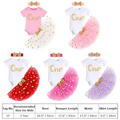 FYMNSI Conjunto de ropa de 3 piezas para niñas de 1/2/1/2/3 cumpleaños de algodón de manga corta + falda de princesa + cinta para la cabeza Violeta-Primer Cumpleaños 1 Año
