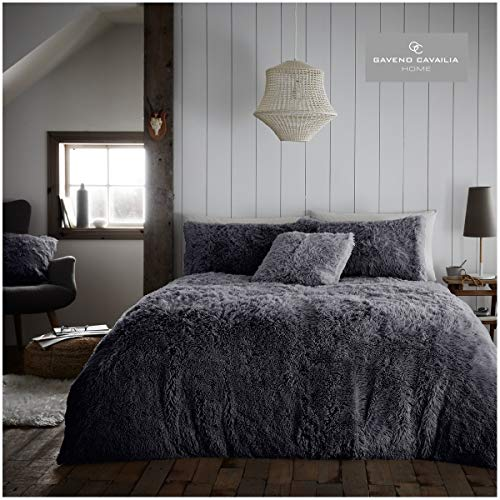 Gaveno Cavailia Luxury Soft & Warm Hugg & Snug Duvet Cover with Pillowcases, Easy Care Fluffy Bed Linen, Charcoal, Kingsize Bedding