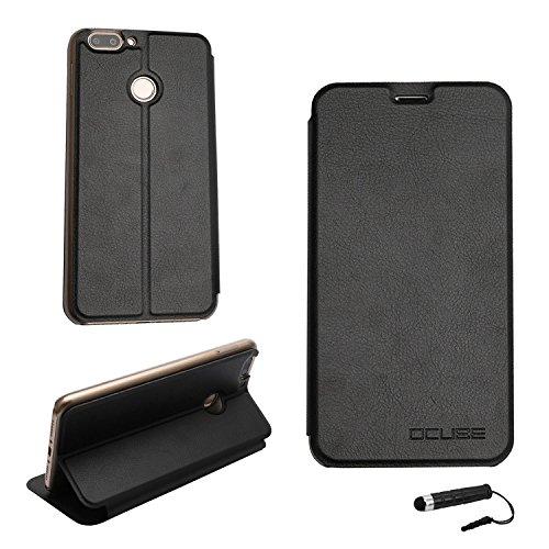 Ycloud Tasche für Oukitel U20 Plus Hülle, PU Ledertasche Metal Smartphone Flip Cover Hülle Handyhülle mit Stand Function Schwarz