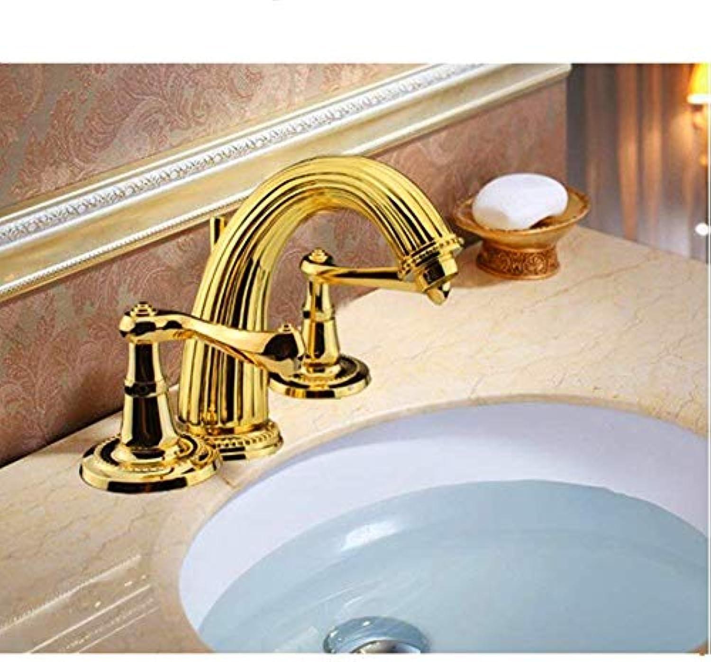 Oudan DREI-Loch-Wasserhahn Wasserhahn heien und kalten Wasserhahn Goldenen Wasserhahn europischen Wasserhahn zu senden das Wasser (Farbe   -, Gre   -)