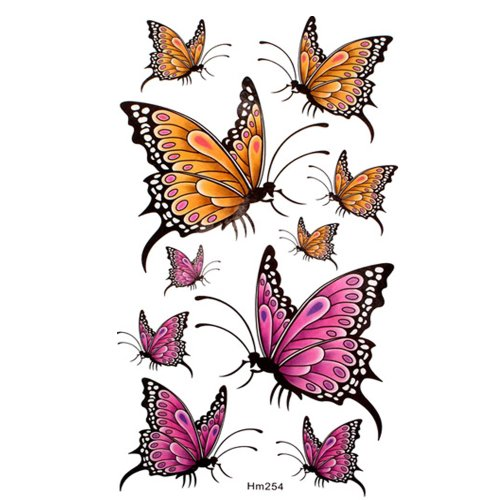 King Horse vente chaude imperméable à l'eau de la mode vignette papillon tatouage sexy