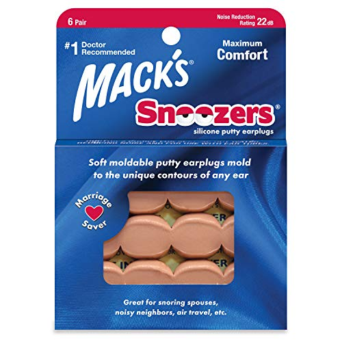 Mack's Snoozers Silicone Putty Earplugs - 6 Pair – Comfortable,...