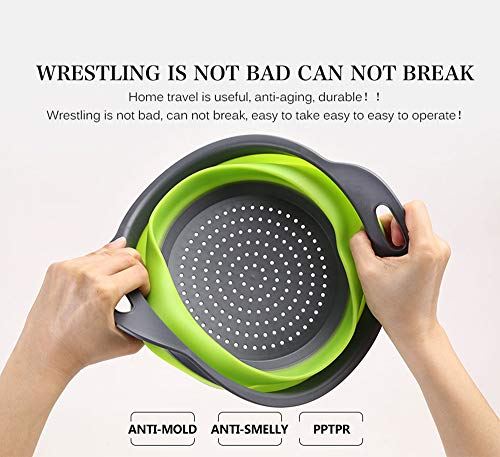 Kitchen Collapsible Colander Set of 3, HJYuan Silicone Colander Strainer Over the Sink Food Folding Water Filter Basket… 5 【 Foldable and Space Saving Design】Ergonomic, space-saving design. Strainers are foldable, so they do not take up much room in your kitchen cupboards. 【Safe and Comfortable】Using environmentally friendly Rubber and plastics materials,no smell.And it is very soft and comfortable. Closed home partner for life. 【Easy to Use】This round colander used for draining most foods like spaghetti, pasta, potatoes, broccoli, green beans, carrots, spinach and other veggies, to rinse your salad leafs, fruits and fresh vegetables.