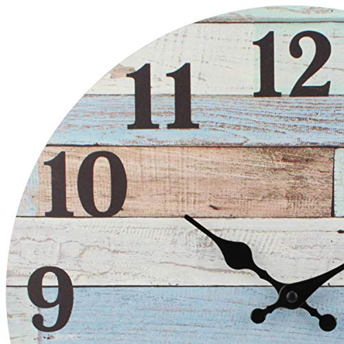 Stonebriar Vintage Coastal Worn Blue 14 Inch Round Battery Operated Wall Clock, Multicolor
