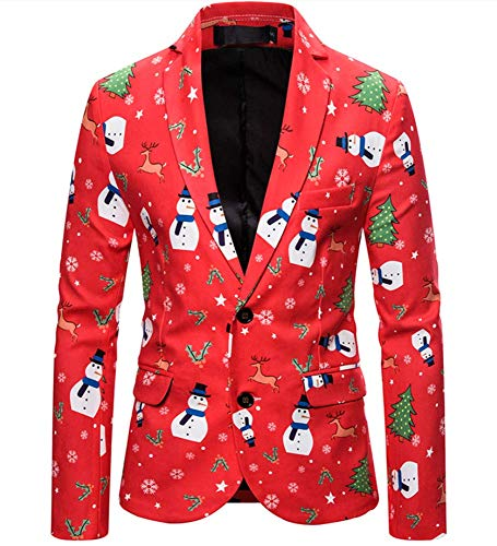 Mannen pak mantel kerst blazer jas mode 3D cartoon kerstprint pak jacks voor party slim fit casual mannen, B