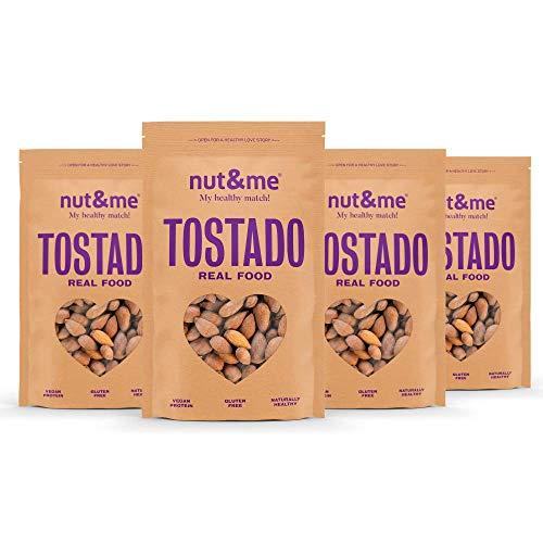 Almendras Tostadas Sin Sal nut&me   Sin Gluten - sin aditivos   Vegano   Proteina vegana   Pack 4 x 250 gr