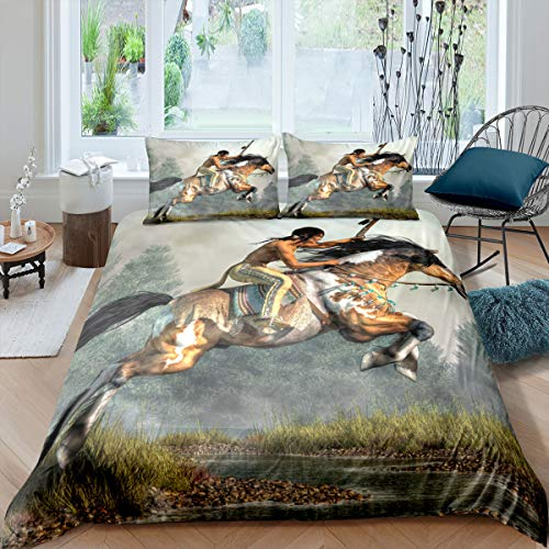 Loussiesd Oil Painting Style Duvet Cover Set (No Comforter) Horse and Rider Decor Bedding Set for Kids Teens, Microfiber Comforter Cover with Zipper Ties (1 Duvet Cover + 2 Pillow Cases) King Size