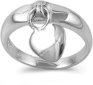 Sterling Silver Women's Dangling Heart Charm Ring Cute 925 Band 5mm Sizes 4-10