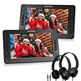 WONNIE 10.5' Dual Portable DVD Player for Car, Headrest Kids CD Players with Two Headphones Built-in 5 Hours Rechargeable Battery, Support USB/SD/MMC,Regions Free,AV Out & in ( 1 Player+1 Monitor )