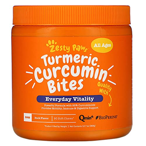 Turmeric Curcumin for Dogs - with 95% Curcuminoids for Hip & Joint + Arthritis Support - Digestive & Mobility + Immune Dog Supplement - with Organic Turmeric, Coconut Oil & BioPerine - 90 Chew Treats