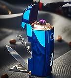 Aibote Mechero eléctrico de plasma 4 en 1 multifunción, con cuchillo, abridor de botellas, sacacorchos, doble arco, sin llama, resistente al viento, recargable por USB, encendedor de metal