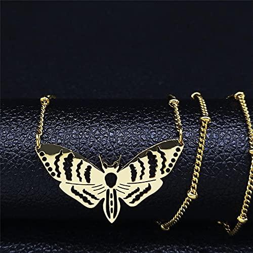Focisa Collar Colgante Cadena Collares Hombre Mujer Collar Collar De Cadena De Acero Inoxidable para Mujeres/Hombres Collar De Color Dorado Collares De Joyería