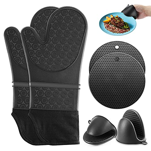 Extra Long Oven Mitts and Pot Holders Sets: Heat Resistant Silicone Oven Mittens with Mini Oven...