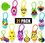 21 PACK 16 Mixed Bulk Kids Hand Sanitizer Travel Size Holder Keychain Carriers with Empty Bottles | 4 Fun Silicone Keychains | 1 Silicone Funnel