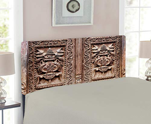 Lunarable Rustic Headboard, Wooden Carved Door Image Detailed Kathmandu Cultural Facade Print, Upholstered Decorative Metal Headboard with Memory Foam, for Twin Size Bed, Brown