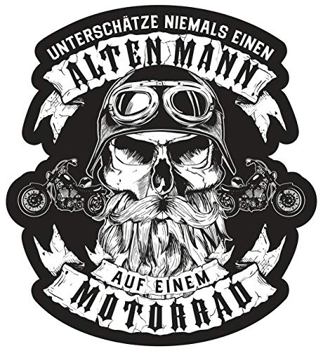Aufkleber Unterschätze Niemals einen Alten Mann auf einem Motorrad (wetterfest)