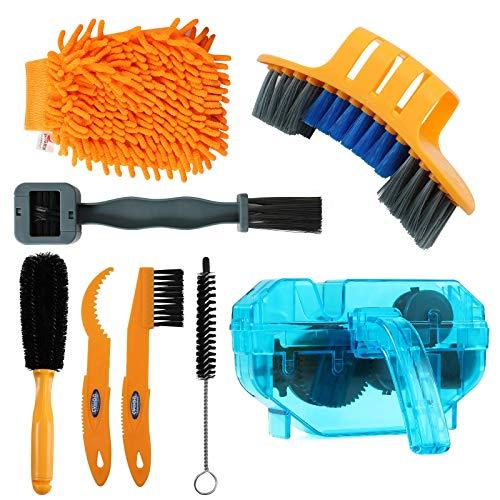 Anndason 8 Pieces Precision Bicycle Cleaning Brush Tool Including The 2020 Latest Bike Chain Scrubber, Suitable for Mountain, Road, City, Hybrid,BMX Bike and Folding Bike (Gray +Blue)