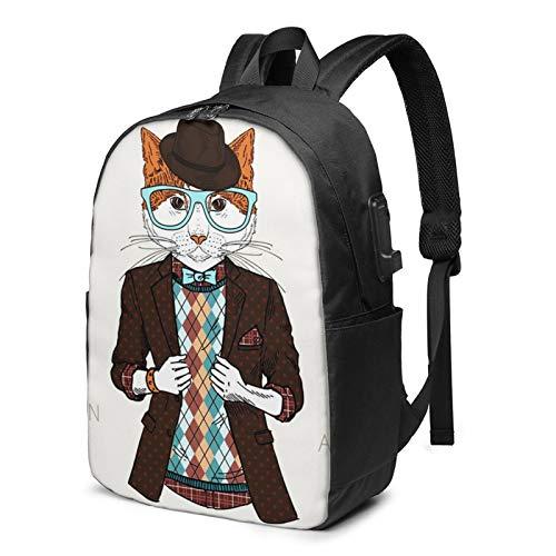 WEQDUJG Mochila Portatil 17 Pulgadas Mochila Hombre Mujer con Puerto USB, Animal Gato Disfrazado de Hipster Mochila para El Laptop para Ordenador del Trabajo Viaje