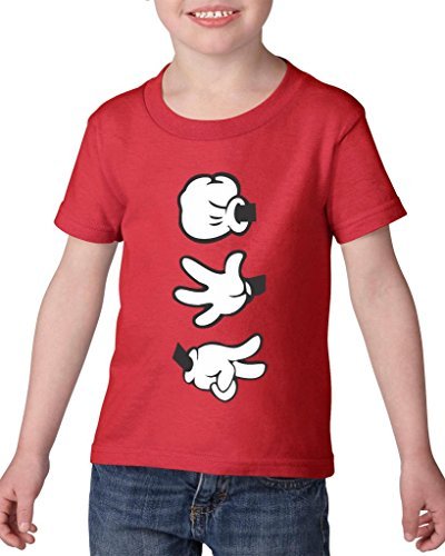Xekia Cartoon Hands Rock Paper Scissors Fashion People Couples Gifts Best Friend Gifts Heavy Cotton Toddler Kids T-Shirt Tee Clothing 4T Red