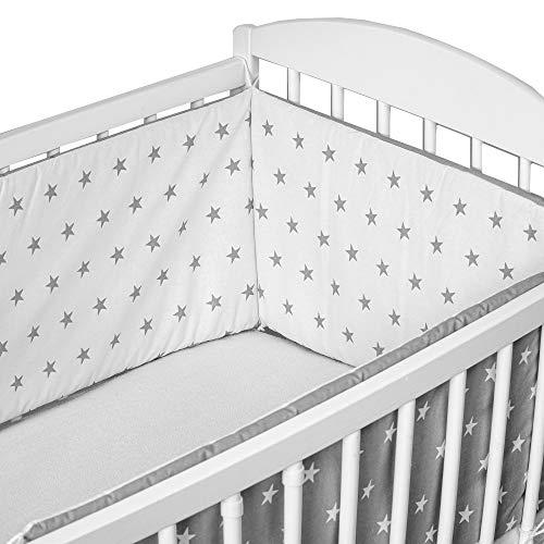 cojin protector cuna - chichonera bebe cuna (blanco-gris con estrellas, 210 x 30 cm)