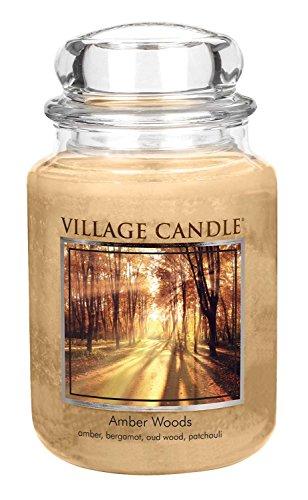 Village Candle Bernsteinholz große Duftkerze im Glas, 737 g, beige, 9.8 x 9.5 cm