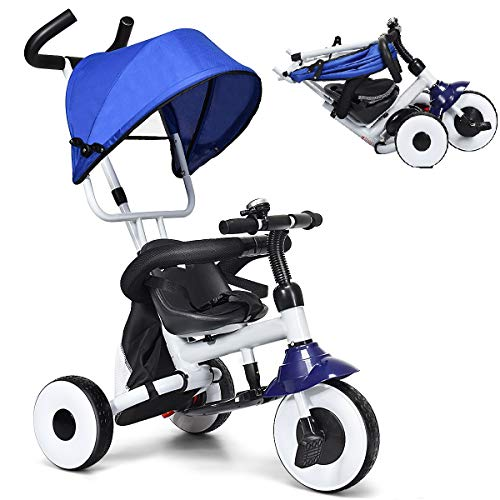Baby Joy Tricycle for Toddlers, Folding Trike w/Adjustable Parent Handle, Canopy, Storage Bag, Safety Harness & Wheel Brakes, Baby Push Tricycle Stroller for Kids Boys Girls Aged 1-5 Years Old, Blue
