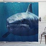 EricauBird Duschvorhang U-Boot Hai Duschvorhang mit Ringen Polyestergewebe Duschvorhänge mit Haken Bad Badezimmer Dekor 183 x 183 cm