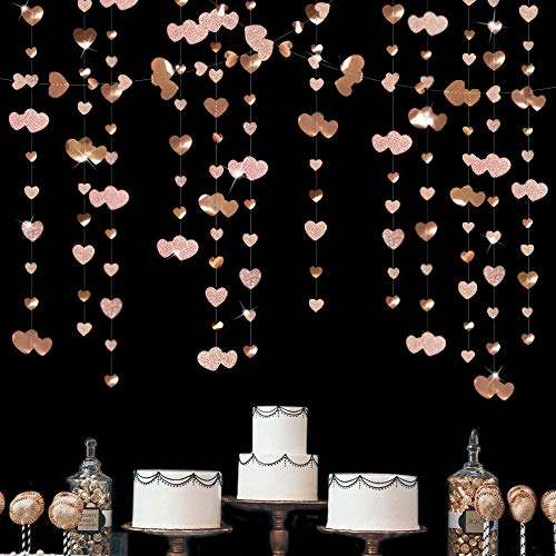 Pink Blume 52Ft Champagner Herz Partyset Doppelseitig Metallisches Papier Banner Streamer für Verlobung Jahrestag Hochzeit Valentinstag Brautparty Dekoration