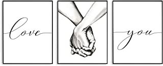 Black and White Wall Art, Love and Hand in Hand Modern Art Prints, Bedroom Wall Decor for Couples, Living Room Wall Decor (Set of 3, 8X10in, Unframed)