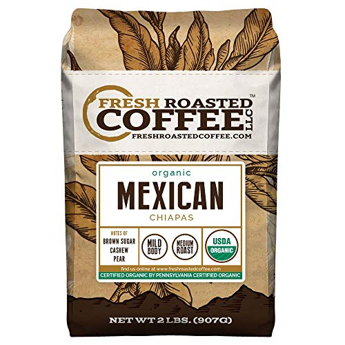 Fresh Roasted Coffee LLC, Organic Mexican Chiapas Coffee, USDA Organic, Medium Roast, Whole Bean, 2 Pound Bag