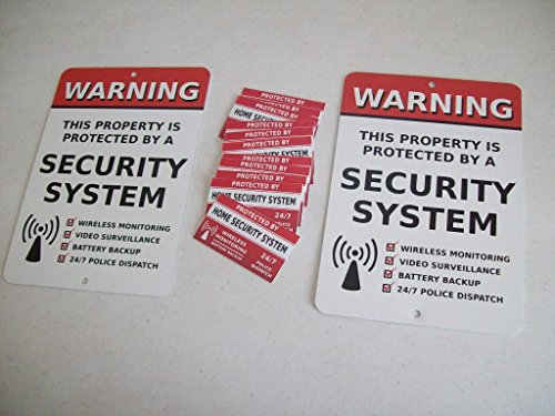 2 Home Security Alarm System 7' x 10' Metal Yard Signs & 12 Window Stickers - Stock # 704