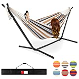 Best Choice Products 2-Person Double Hammock Set for Indoor, Outdoor w/Steel Stand, Carrying Case - Desert Stripes