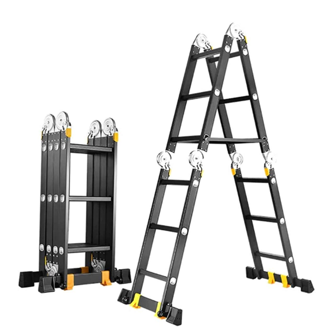 はさみへこみ独特のXEWNEG 折りたたみ梯子、多機能アルミ梯子、プーリーとバランスバー付きのポータブルエンジニアリング梯子、 (Size : Straight 5.8M= Herringbone 2.8M)