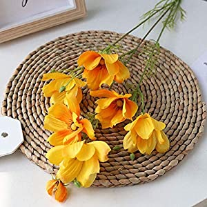 Silk Flower Arrangements Artificial and Dried Flower 56cm Height Artificial Flower 7 Heads Artificial Cosmos Fake Flower Wedding Party Christmas Home Decoration Flower Wall DIY - ( Color: Orange )