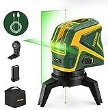 POPOMAN Niveau laser vert, Traceurs de ligne laser avec 2 points de connexion, Chargement USB, Ligne laser croisée à autonivelant 25 m, Fonction d'impulsion, Base magnétique rotative incluse - MTM320B