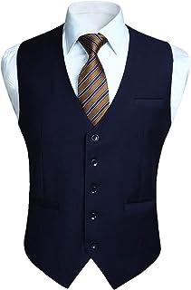 Enlision ベスト メンズ スーツ ベスト 結婚式 光沢 5ボダン 2ポケット スリム Vネック 尾錠付き ビジネスチョッキ フォーマル 紳士