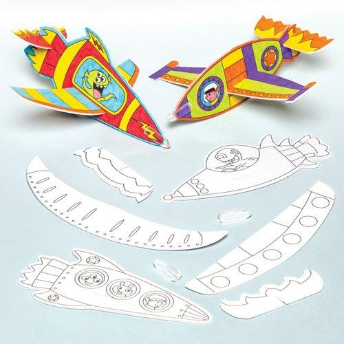 Cohetes planeadores para colorear que los niños pueden decorar y personalizar - Juguete creativo perfecto para bolsas sorpresa (pack de 8)