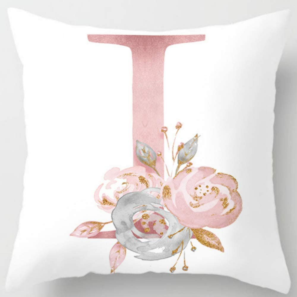 Eanpet Throw Pillow Covers Alphabet Decorative Pillow Cases ABC Letter Flowers Cushion Covers 18 x 18 Inch Square Pillow Protectors for Sofa Couch Bedroom Car Chair Home Decor (I)