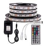 XUNATA 12V Tiras LED RGB 5050 SMD 300 LEDs Para TV Tira de Luces LED Kit Completo con control remoto de 44 teclas (No impermeable, 1m 60LEDs)