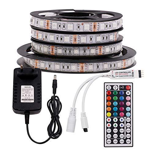 XUNATA 12V Tiras LED RGB 5050 SMD 300 LEDs Para TV Tira de Luces LED Kit Completo con control remoto de 44 teclas (No impermeable, 5m 300LEDs)