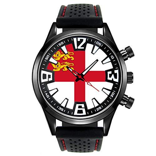 Timest - Bandera de Sark Bailía de Guernsey - Reloj para Hombre con Correa de Silicona Negro Analógico Cuarzo SF557