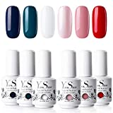 Vernis Semi Permanent UV Gel - Y&S Vernis à Ongles Gel Nail Polish Soak Off Manucure Nail Art Kit 6 Couleurs X 8ml Couleur Populaire Lot 04