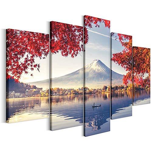Revolio - Cuadro en Lienzo - impresión artística - 5 Partes - Decoracion de Pared - Tipo A - Tamaño: 200 x 100 cm - Japón árboles Azul